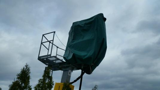 Snow guns are covered to deter birds and wasps from nesting.