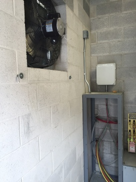 New vent fan installed to keep motors cool while pumping water for snow system.