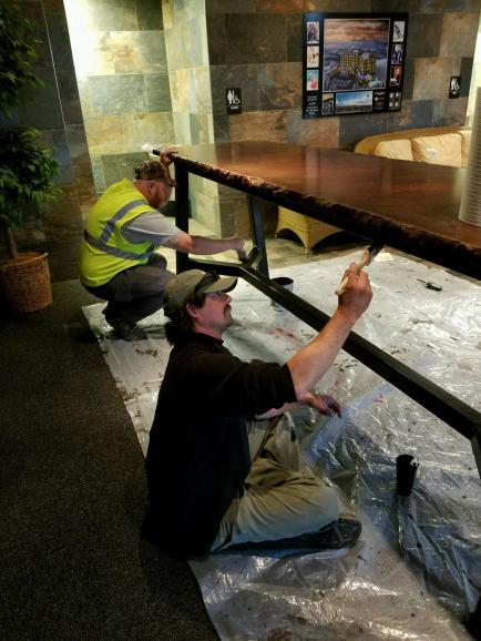 OD and Jason on rainy day maintenance.