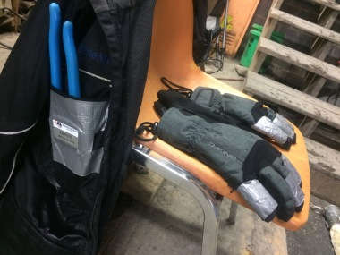Gear up: gloves, channellocks & duct tape.